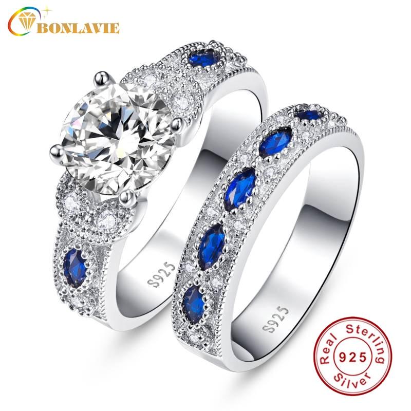 BONLAVIE 1 Pair Blue Sapphire Couple Wedding Rings 100 925 Sterling Silver Forever Love Romantic Lovers