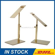 Metal Polished gold Shoe Display Stand Riser Holder Sandal