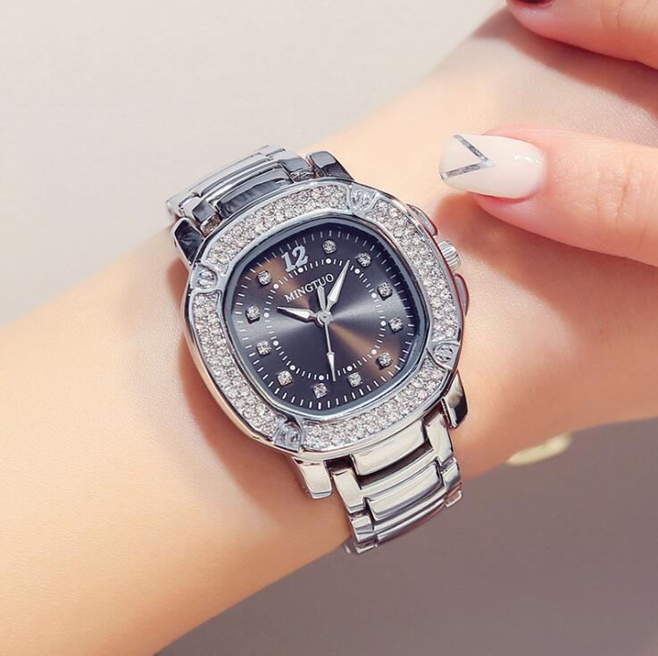 Luxe Dames Roségoud Horloge Merken Crystal Sliver Dial Fashion - Dameshorloges - Foto 2