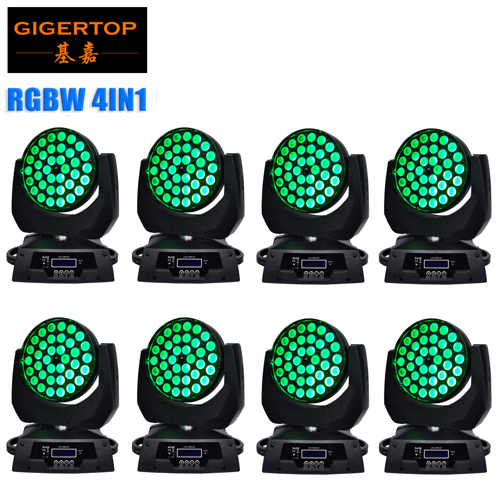 Gigertop 8 Unit 36 10W RGBW Zoom Led Moving Head Wash Stage Lighting DMX 14 Channels China Effect DJ Show Light Auto/Sound/DMX