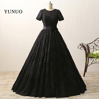 Real Photos Special Black Lace Wedding Dresses Sexy O Neck Appliques Short Sleeve Floor Length Bridal
