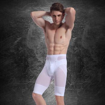 Homens calças cuecas homens musculares emagrecimento Shaper barriga Fatty Hip fino pé plano calças de cintura Corsets
