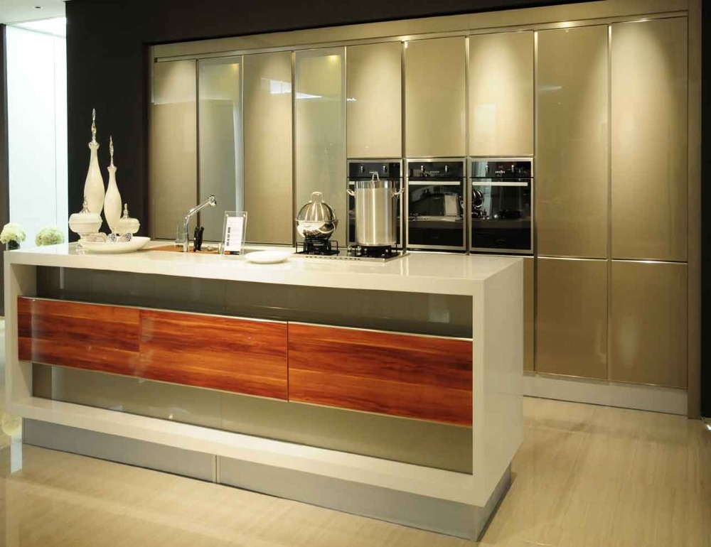 Buy handle free modern kitchen cabinets for Built in oven kitchen cabinets