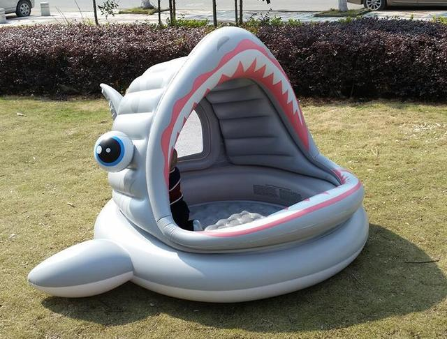 Safety Water Play Equipment PVC Inflatable Intex 57120 Big Shark with Tent Baby Pleasure Pool Cool & Safety Water Play Equipment PVC Inflatable Intex 57120 Big Shark ...