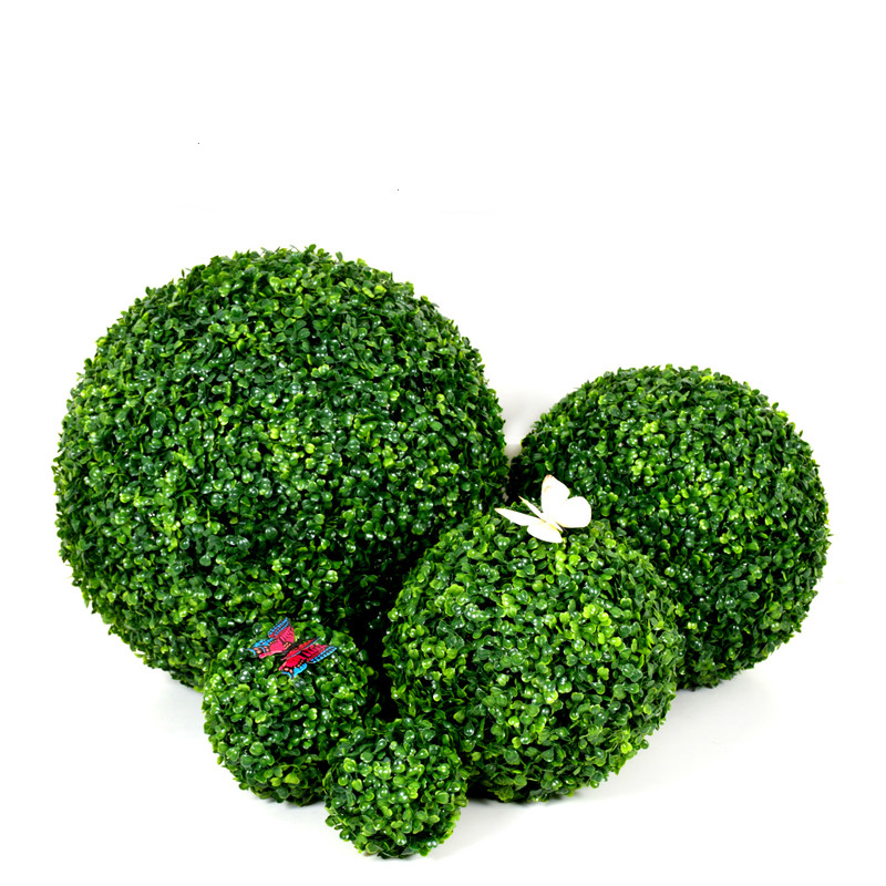 (10/18/30/38cm) Decorative Artificial Grass Ball Plastic Leaf Effect Hanging Green Grass Ball Decor Artificial DIY Flower Ball