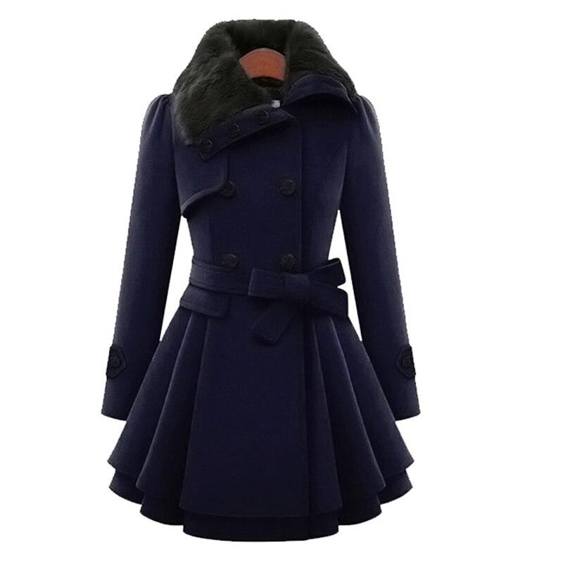 Winter Warm Coat Women Fur Collar Woolen Blends Coat Double-breasted Warm Female Overcoat Belt Women   Trench   Coat Outerwear