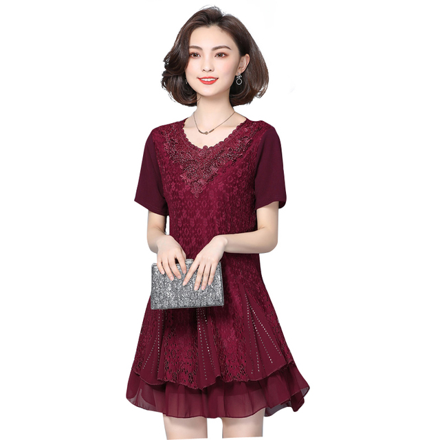 Plus Size Fashion Women Dress Short Sleeve Slim In Younger Sister