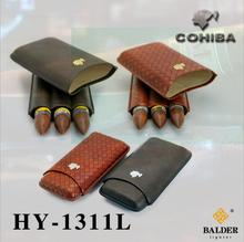 COHIBA Gadgets Leather Travel Cigar Case 3 Tubes Cigars Holder Mini Humidor with Gift Box XJH023