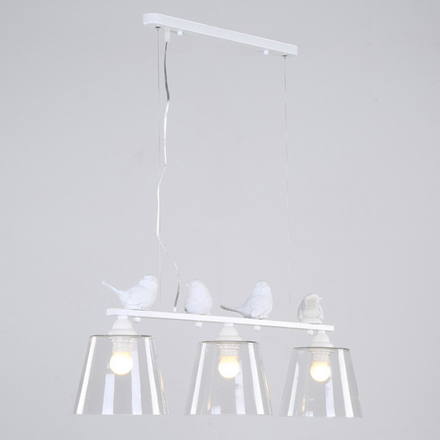 Country Style Lamp Modern Pendant Light Dining Room Kitchen Home Fixture Resin Bird Glass Lampshade White Iron E27 110-240V