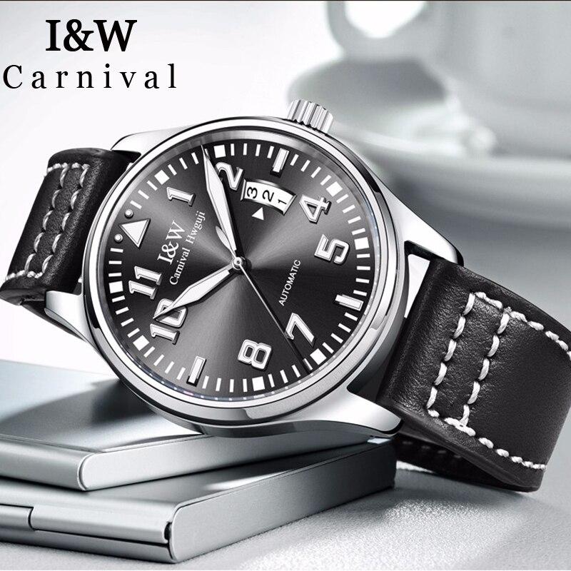 私は & W 自動腕時計メンズカーニバル発光手機械式時計防水メンズ時計スポーツパイロット腕時計 erkek kol saati -