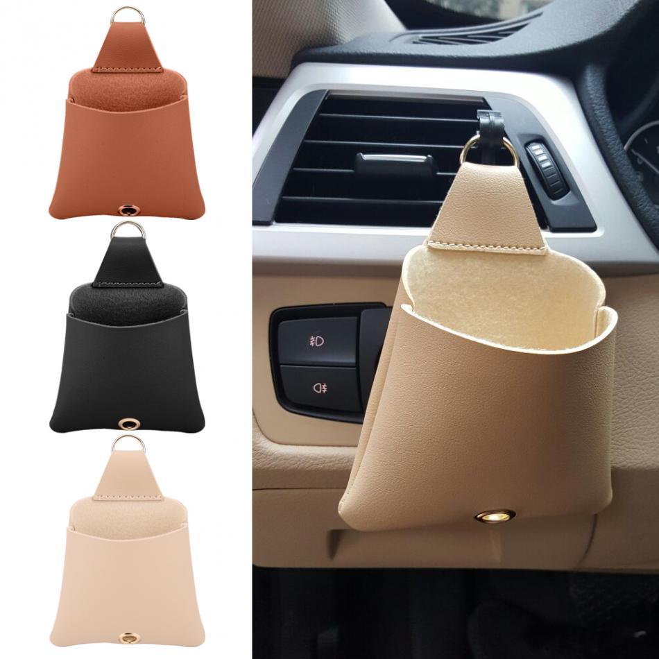 Car Air Vent Outlet Storage Pocket Organizer Bag Pouch Black/Brown/Beige Color W/ Hook for Sunglasses Cell Phones