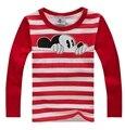 Ocho colores Ratón de la Historieta Muchachas de Los Bebés de los niños camisetas de algodón de manga larga T-Shirt Niños del Otoño Tee Ropa de Los Muchachos