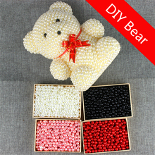 DIY Gift for Valentines Day Foam Bear Mold Luck Dog Artificial Imitation Pearls Wedding Home Decoration