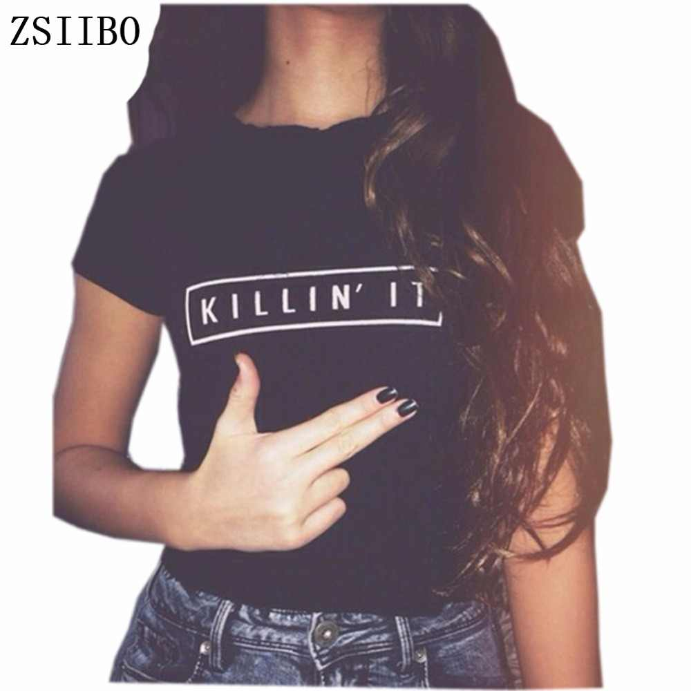 97d5a972dc1d Detail Feedback Questions about ZSIIBO Killin It Fashion Women T shirt Tops  Harajuku Tee White Black Short Sleeve tshirts Casual Night Club Clothing on  ...