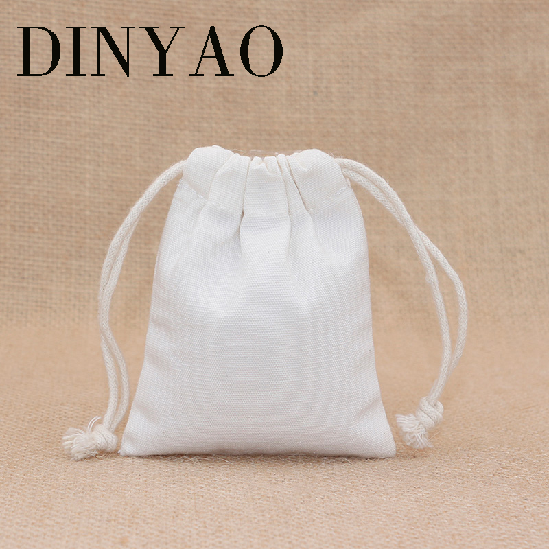 5pcs/lot 10*14.5cm 10oz Small Canvas Bag Pouch Wholesale One pc Logo Print Manufaturer Drawstring White Gift Bags Packing Bags