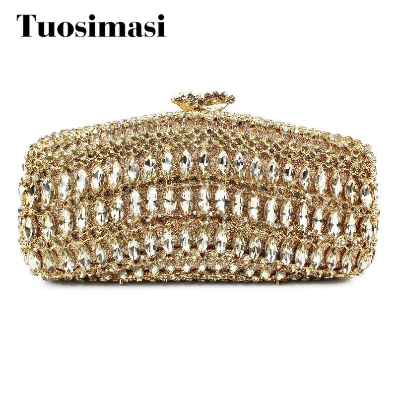 Luxury Crystal Clutch Evening Bag Golden Bridal Metal Clutch Evening Bag Wedding Party Handbags Purse (8726A-G)