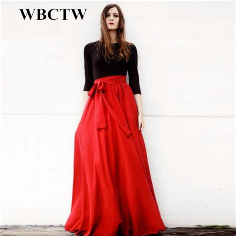 Online Get Cheap Skirt A Line Floor Length Long Skirt with Pocket ...