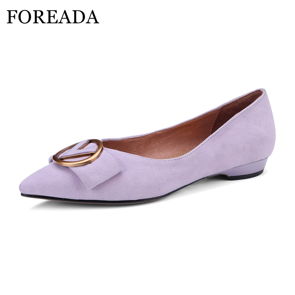 FOREADA Genuine Leather Suede Shoes 2018 Women Boat Flats Shoes Spring Pointed Toe Slip On Casual Shoes Female Purple Size 33-40 2017 new fashion spring summer boat shoes women candy color flats pointed toe slip on flat fashion casual plus size pu shoes
