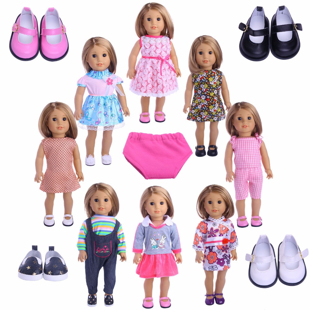 Best Selling  Doll Clothes Dress Underwear Shoes For 18 Inch American Doll & 43 Cm Baby Doll For Our Generation  Girl`s Toy
