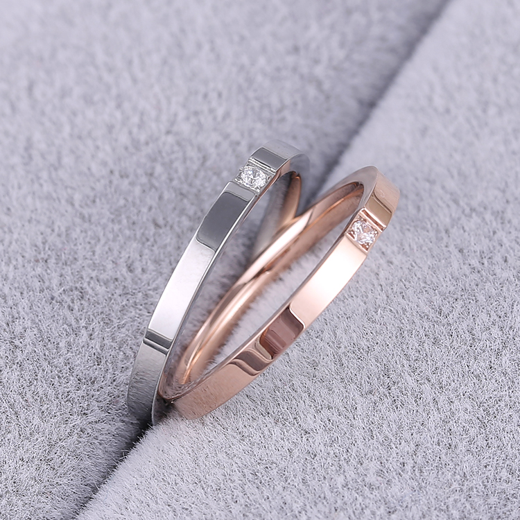 KNOCK Top Quality Concise Zircon Wedding stainless steel material Rose Gold Steel color Ring Never Fade  Jewelry 1