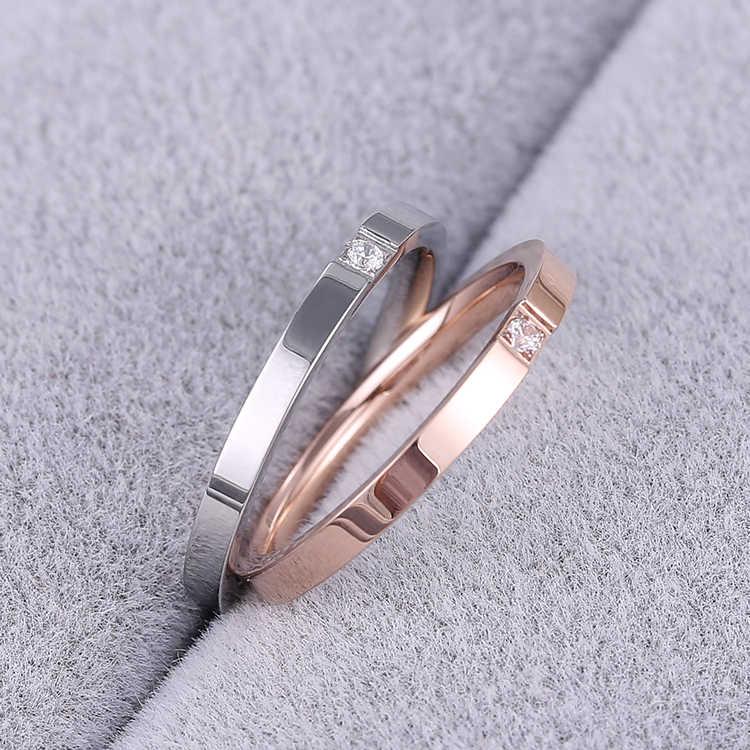 Knock Kualitas Ringkas Zircon Pernikahan Bahan Stainless Steel/Baja Warna Rose Gold Cincin Warna Tidak Pernah Pudar Perhiasan