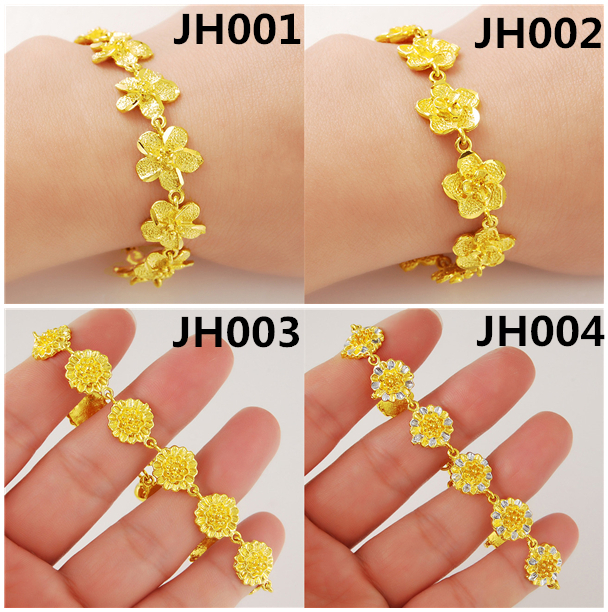 JH002 Real 24k gold bracelet Top quality yellow gold golden