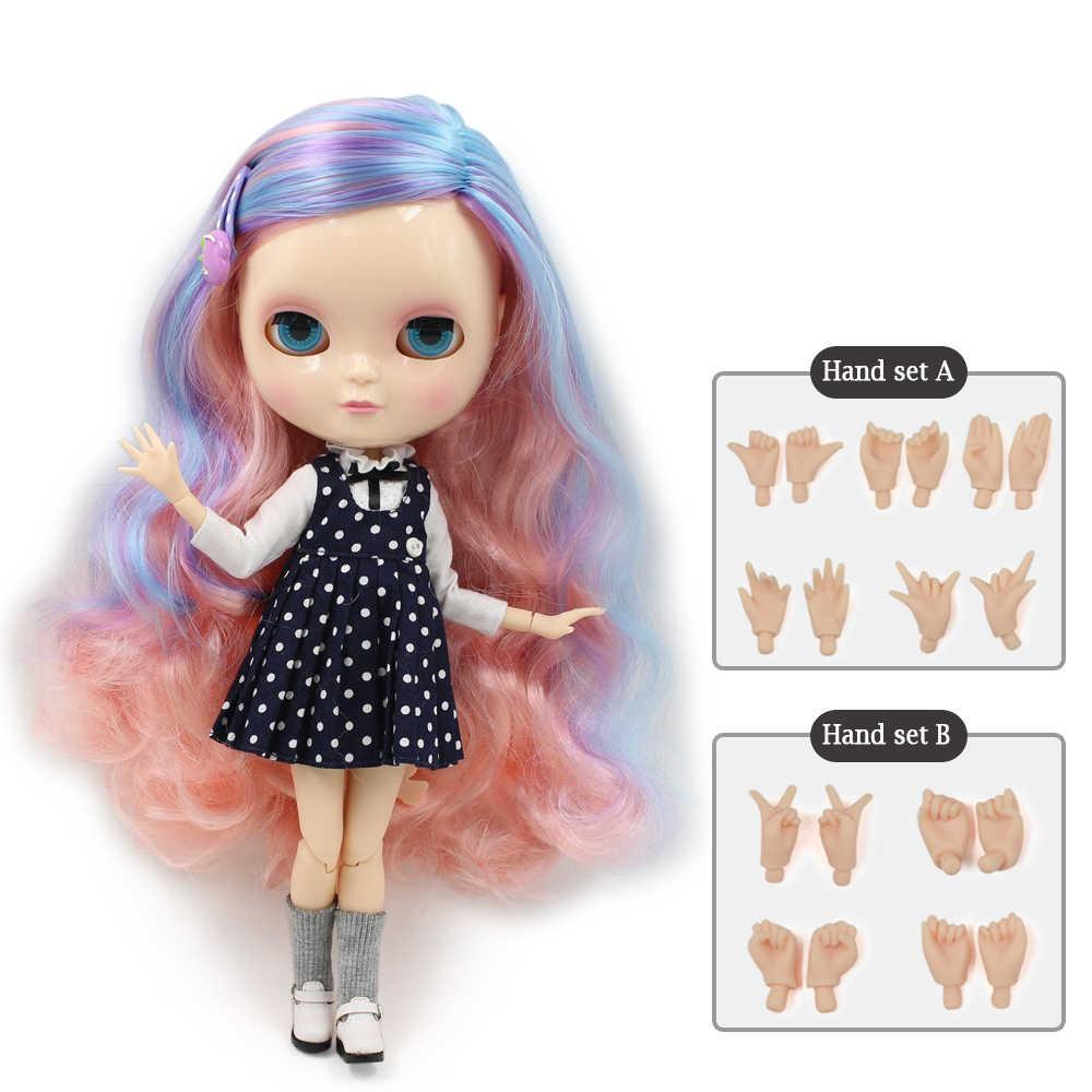 ICY DBS BJD Azone boneca Nua joint corpo peito pequeno Presente para as meninas de cabelo azul mix rosa 30cm