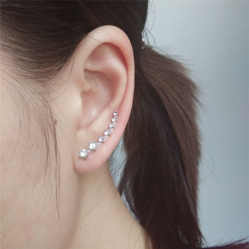 New Crystal Earring Cuff Sweep Wrap Silver Gold Ear