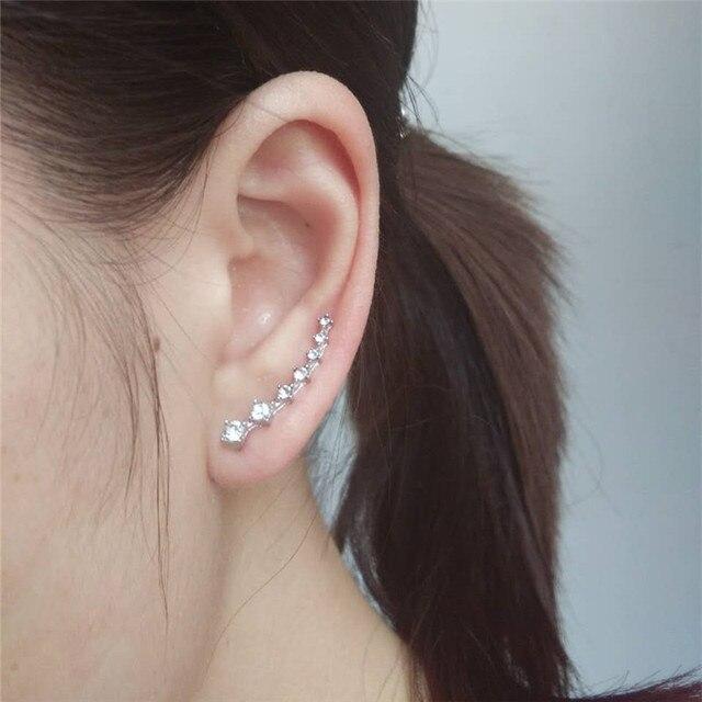 New Crystal Earring Cuff Sweep Wrap Silver Gold Ear Rhinestone Climber Clip Cuffs Earrings For