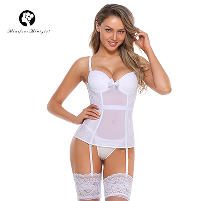 61bd699253 Minifaceminigirl White Sexy Overbust Bustier Corset Sex Femme Lace Up  Lingerie Appliques Women Push Up Plus