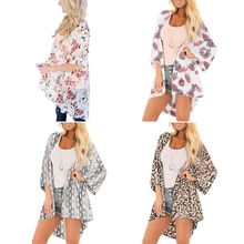 1 PC Women Holiday 3/4 Sleeve Open Front Kimono Cardigan Boho Floral Leaf Leopard Print Bikini Cover Up Anti-UV Beach Robe