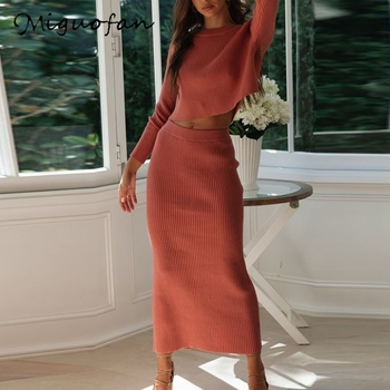 Miguofan Knitted 2 Pieces Set Women Pullovers Sweater Crop Tops & Knitted Skirts Bodycon Office Lady 2PCS Suits Sets 2020 Winter