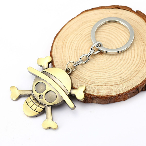 HSIC 10pcs/lot Anime Series One Piece Luffy Straw Hat Pirates Skull Keychains Metal Keyring Key Holder For Fans Cosplay HC11503