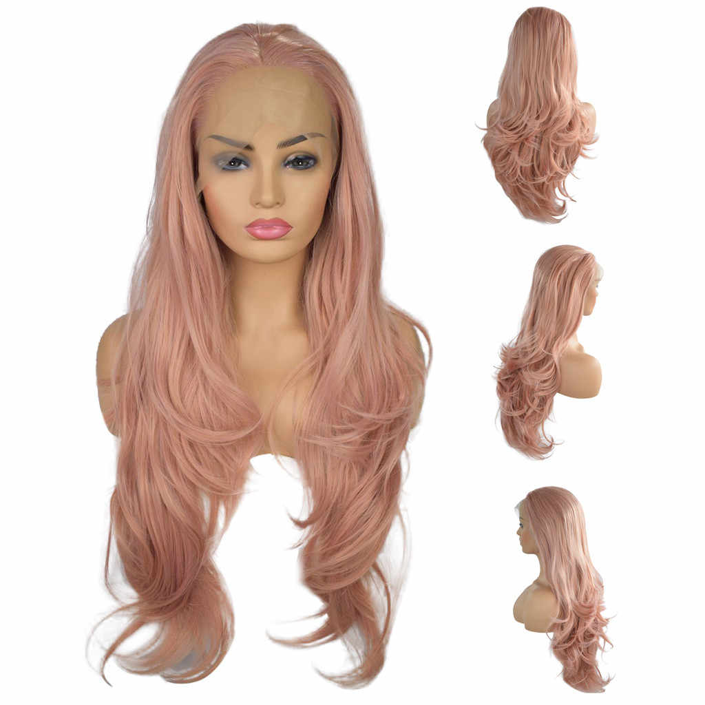 MUQGEW 2019 New Arrival Women Wigs Curly Wig Glueless Full Lace Wigs Pink Women  Indian Remy 034030216e