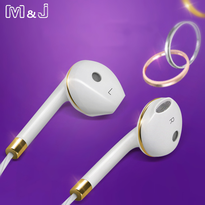 M & J Earphone Dalam Telinga Untuk iPhone 6s 5 Xiaomi Handsfree Headset Bass Earbuds Stereo Headphone Untuk Apple Earpod Earpod Apple