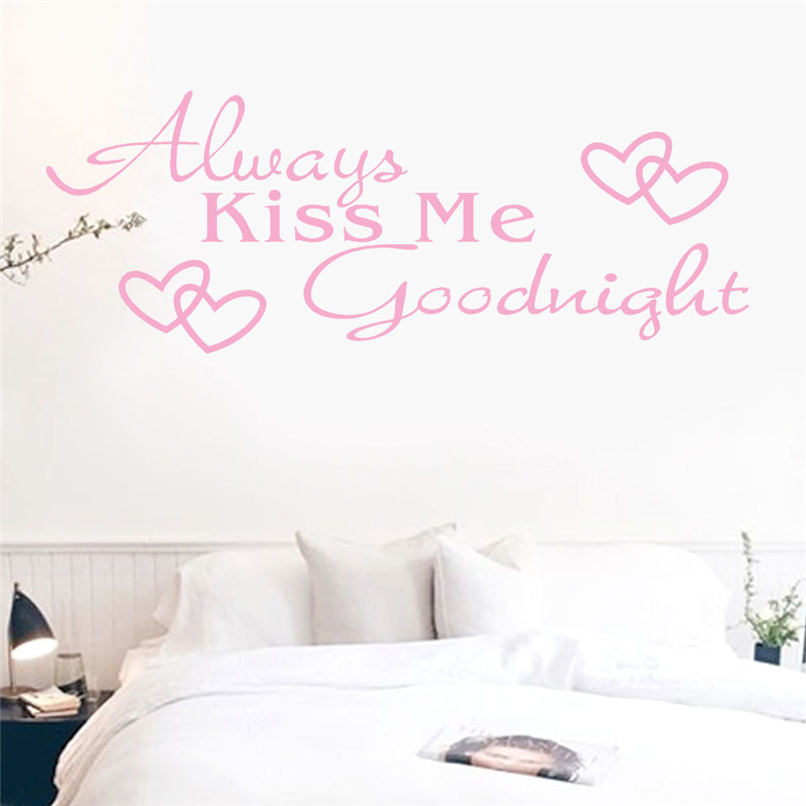 Mosunx Business 2016 Hot Selling Always Kiss Me Goodnight Home Decor Wall Sticker Decal Bedroom Vinyl Art Mural @40