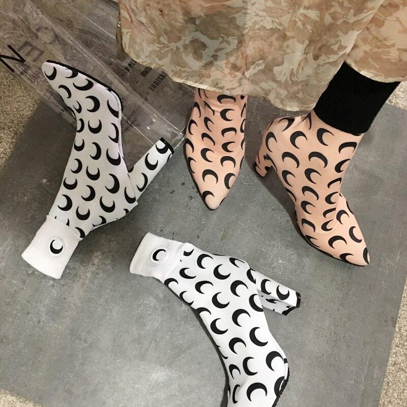 Zapatos Dedo Tejido Del Imprimir Color Alto Elásticas De Tacón as Damas Show Puntiagudo Tobillo Luna Fiesta As Botas Mezclado Sexy Elástico Banquete Pie Show 18aw Mujer PwHF7Cqq