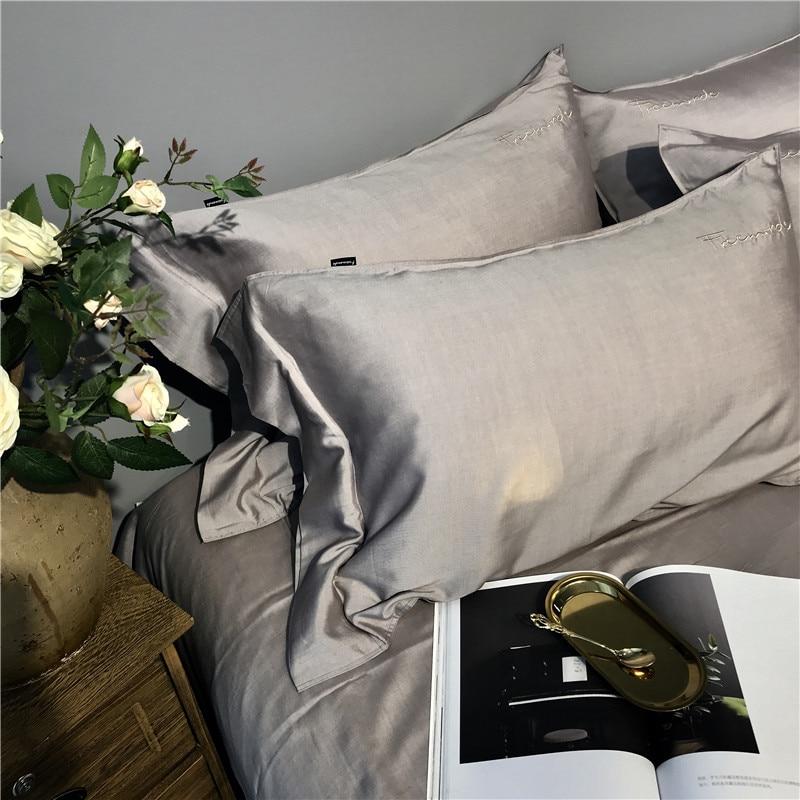 Image 3 - Gray Silver Tencel Silk Soft Bedding set Queen King size Bed set bed sheet Duvet cover Fitted sheet parure de lit ropa de camaBedding Sets   -