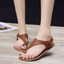 sandals for 2019 summer Buckle rubber Large size womens  Rome style women flat with Beach slippers Drop Shipping