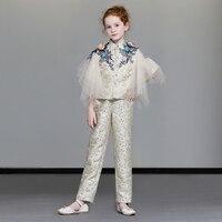 Красивый Роскошные блейзеры для девочек костюм с вышивкой для Праздничное платье для дня рождения костюм Аппликации Мода Вечеринка платья