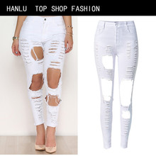 HANLU Fashion Hole High Waist White Skinny Women Jeans Robek Scratched Stretch Ripped Jeans Femme Push Up Vintage Denim Mujer