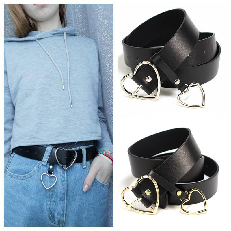 Harajuku PU Leather Belt Women Metal Heart Buckle Waist Belt Female Party Dress Jeans Decor Waistband Ladies Belts Streetwear(China)