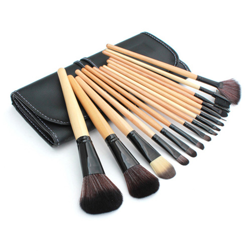 Hot Sale! Women 15 pcs Soft Synthetic Hair make up tools kit Cosmetic Beauty Makeup Brush Black Sets with Leather Case free shipping 15 pcs soft synthetic hair make up tools kit cosmetic beauty makeup brush black sets with leather case