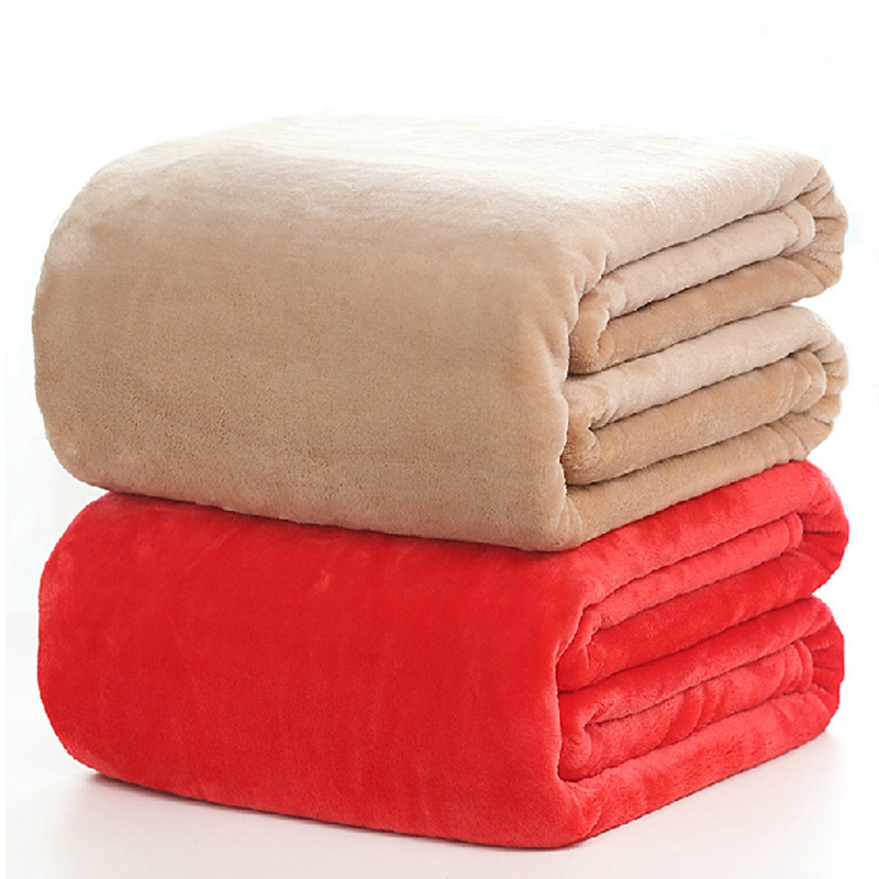 flannel solid color blanket throws soft plaids winter flat bedsheet 150200cm 180200cm 200230cm 230250cm - Fleece Throws
