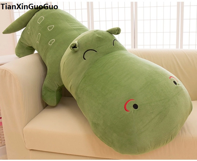 stuffed toy huge 140cm cartoon green hippo plush toy doll soft hugging pillow Christmas gift b2803 the huge lovely hippo toy plush doll cartoon hippo doll gift toy about 160cm purple