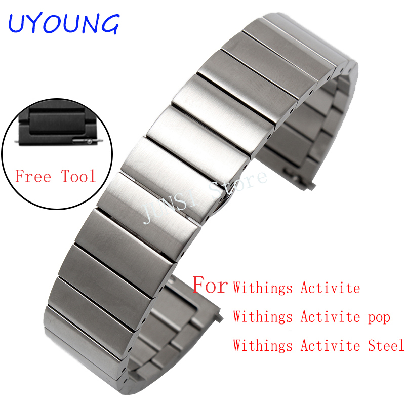 18mm Solid stainless steel Watchband for withings Activice / Steel / Pop/HR Fabric Watch Band Sports Wrist Strap Multi Colors 18mm genuine leather watchband for withings activite steel pop smart watch band wrist strap plain grain belt bracelet tool