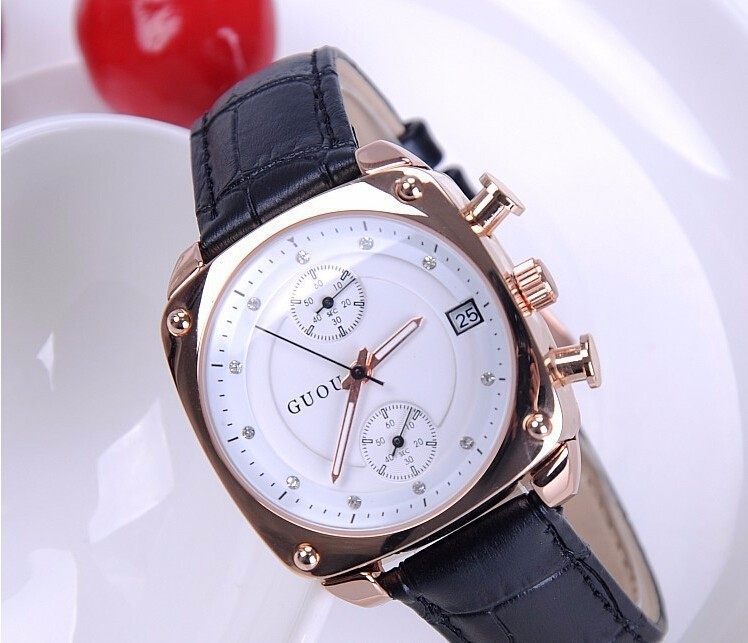 GUOU Brand Luxury Crystal Rose Gold Watch Women Watches Genuine Leather Ladies Watch Auto Date Lady