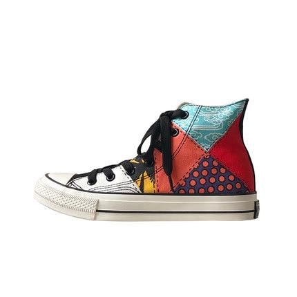 Neujge Mode casual couleurs mélangées correspondant portable hommes de chaussures d'été respirant haute pour aider toile plat chaussures hommes 165303