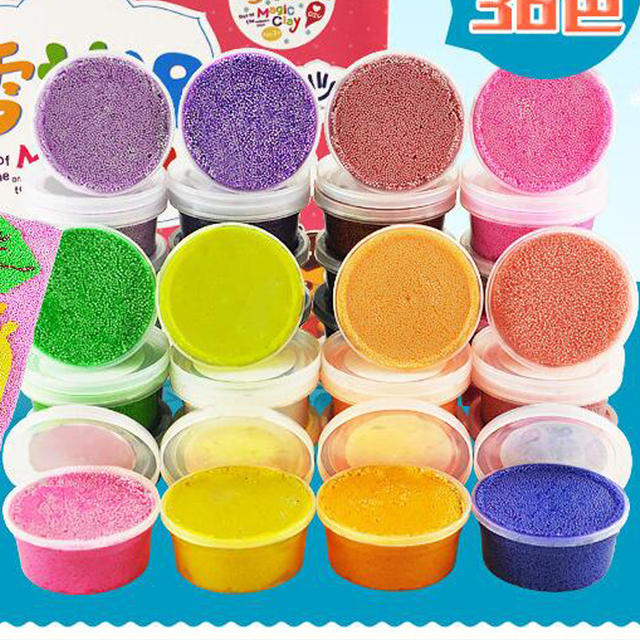 Hot 24 Colors Play Foam Light Soft Colored Modeling Clay Magic Air Dry slime Plasticine Play Set  Playdough With Free Molds