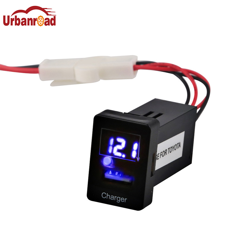 USB Port Dashboard Voltmeter Car 5V 2.1A Phone Charger for TOYOTA Car Voltmeter Display Charger Adapter Cigarette Lighter USB
